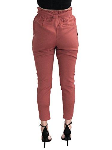 Simplee Apparel Women 's Casual regular fit lápiz pantalones de cintura alta cintura de cordon pantalones de harén Rosso