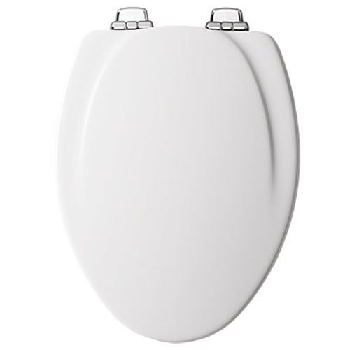 Mayfair Molded Wood Toilet Seat feturing Slow-Close, STA-TITE Seat Fastening System and Chrome Metal Hinges, Elongated, White, 130CHSLB 000