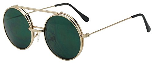 Metal Round Retro Boho Transparent Colored Mirrored Steampunk Flip Up Glasses Sunglasses (Gold | Green, - That Up Glasses Flip
