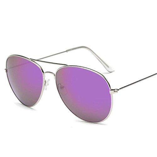 Vintage Retro Aviator Mirror Lens Sunglasses Purple - 7