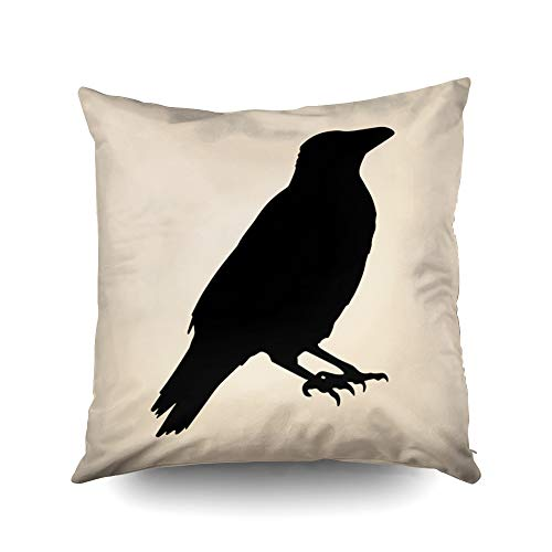 Capsceoll Vintage Halloween Crow Decorative Throw Pillow Case 18X18Inch,Home Decoration Pillowcase Zippered Pillow Covers Cushion Cover with Words for Book Lover Worm Sofa Couch -