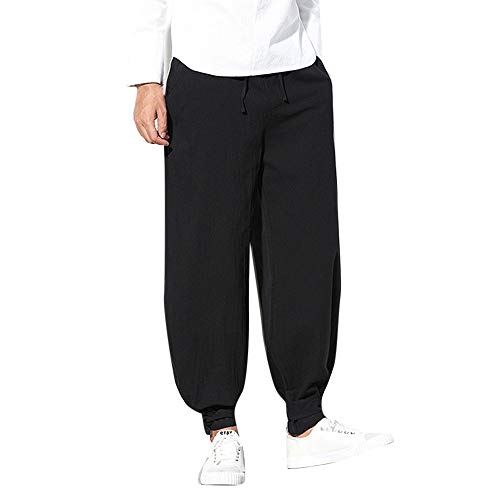 POHOK Men's Loose Casual Pants,Pure Color Trousers Cotton Linen Small Feet Lantern Pant Black]()