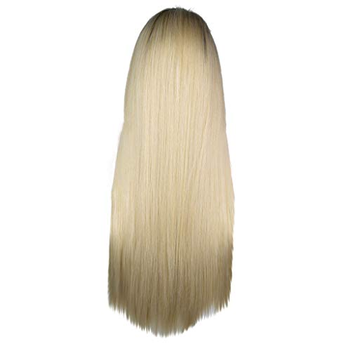 Fashion Platinum Blonde Wigs Rooted Light Blonde Lace Front Wigs for Women Best Synthetic Hair Wavy Wig with Heat Safe]()