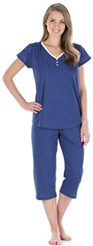 Sleepyheads Women's Sleepwear Cotton Short Sleeve V-Neck Top and Capri Pajama Set - Slinky Set Pant Knit