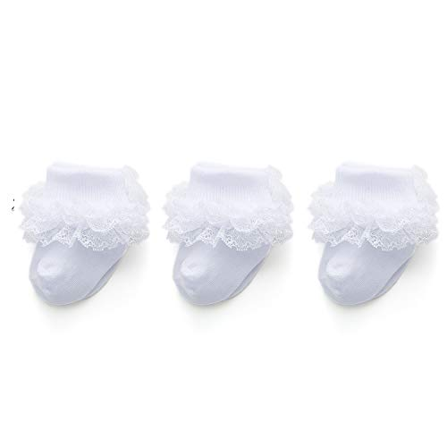 Epeius 3 Pairs Baby-Girls Eyelet Turn Cuff Ruffle Frilly Lace Socks Toddlers Girls Triple Lace Dressy Socks Gift Box White 12-36 Months