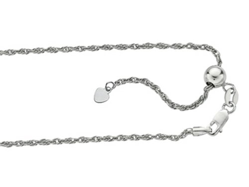 Finejewelers Rhodium Plated 22 Inch bright-cut Adjustable Rope Chain Necklace with Lobster Clasp and Small Heart (Rhodium Plated Lobster Clasp)