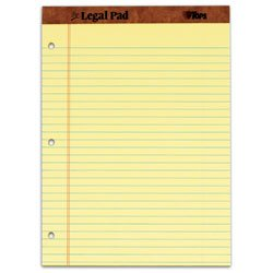 TOPS The Legal Pad Legal Pad, 8-1/2 x 11-3/4 Inches, Perforated, 3-Hole Punched, Canary, Legal/Wide Rule, 50 Sheets per Pad, 12 Pads per Pack (75351)
