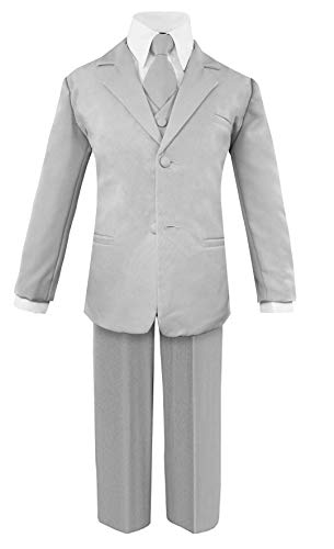 (Luca Gabriel Toddler Boys' 5 Piece Classic Fit No Tail Formal Silver Dress Suit Set with Tie and Vest - Size 14)