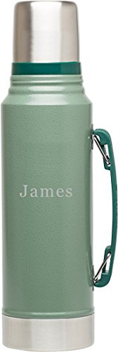 1.1 Quart Bottle (Personalized Stanley Classic Vacuum Hammertone Green 1.1QT Bottle with Line of Text)