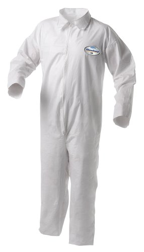 Kimberly-Clark KleenGuard A35 Liquid and Particle Protection Disposable Coverall, Elastic Wrists and Ankles, White, Size Medium (Case of (Kleenguard A35 Liquid)