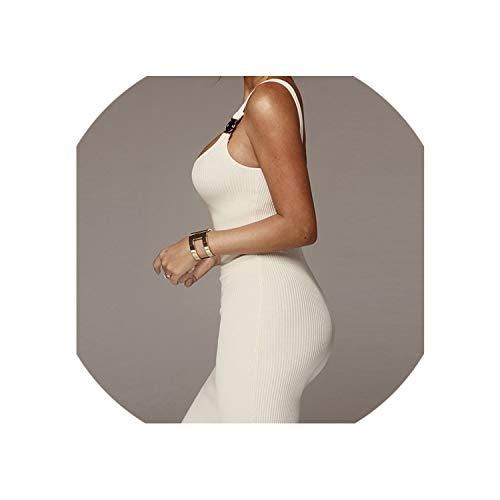 (Women Dress Spaghetti Strap Sleeveless Sexy Bodycon Midi Dress Long Elegant Party Club Dress,White,L)