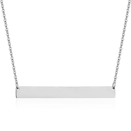 Lazycat Stainless Steel 18K Plated Bar Necklace with Engravable Bar Pendant (Engravable Silver Pendants)