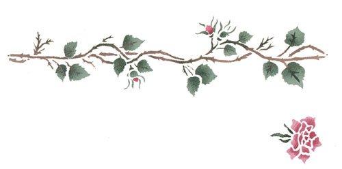 Rosebud Border Wall Stencil - DEE250 by (Rosebud Kitchen)