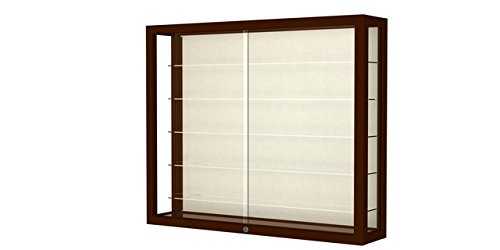 Waddell 8903M-PB-C Heirloom 36 x 30 x 8 in. Wall Case Hardwood with 5 Shelves44; Plaque Back - Cordovan