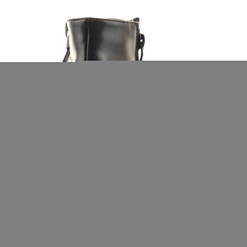 Sopily - Scarpe da Moda Stivaletti - Scarponcini low boots alla caviglia donna zip Tacco zeppa 9 CM - Nero