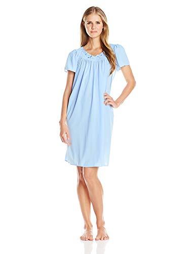 Miss Elaine Tricot Nightgown, Short Sleep Dress with Comfortable Lightweight Fabric, Flutter Sleeves (3X, Bluebell)