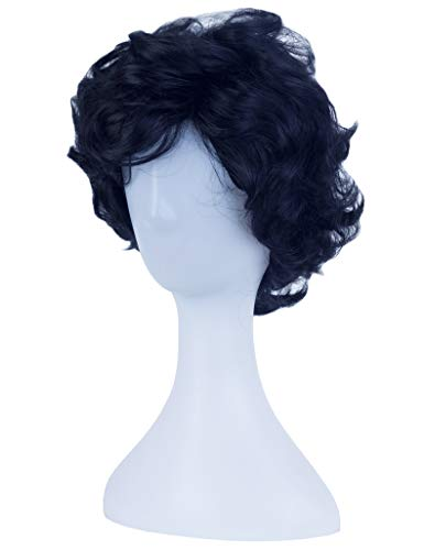 Angelaicos Men's Short Curly Brown Black Wig Halloween Costume Cosplay Party Fluffy Wigs (Black) -