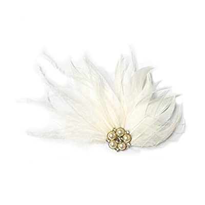 S&E Women's Elegant Champagne Feather Pearls Bridal Wedding Party Hair Clip Hair Accessories