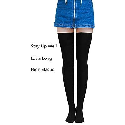 AnVei-Nao Womens Girls Winter Over Knee Leg Warmer Knit Crochet Socks Leggings Black: Clothing