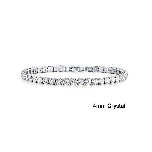 CAIYCAI Stonefans Cz Crystal Tennis Bracelet Zircon Bracelet Bangle Chains Crystal Gold Strand Bracelets 1540-Silver OneSize