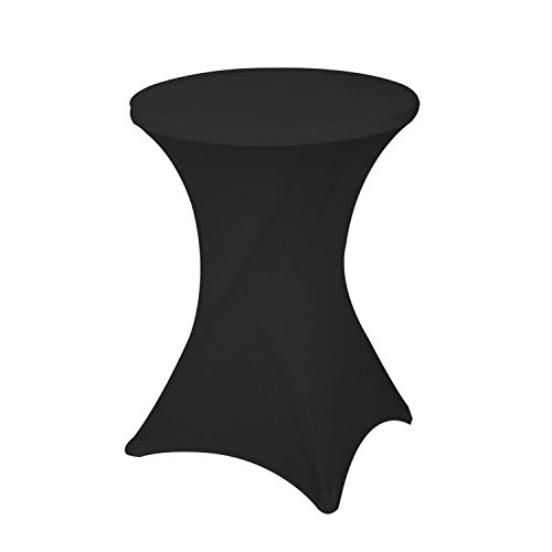 32 Inch /24 Inch Spandex Cocktail Tablecloth Fitted Table Cover Fit Round Folding Table Dry Bar Bistro Table Cover (32inx43in, Black) (Inch 30 Round Table Bistro)