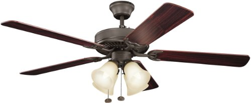 (Kichler  402SNBU Basics Premier 52IN 4LT Ceiling Fan, Satin Natural Bronze Finish with Reversible Blades and Umber Etched Glass)