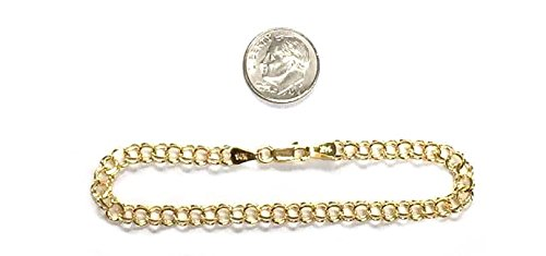 "14Kt 14K Yellow Solid Gold 5MM 7 1/4 & 8"" Double Link Charm Bracelet Clasp"