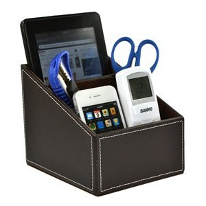 Cosmos Brown PU Leather Remote control/controller TV Guide/mail/CD organizer/caddy/holder with Free Cosmos Cable Tie