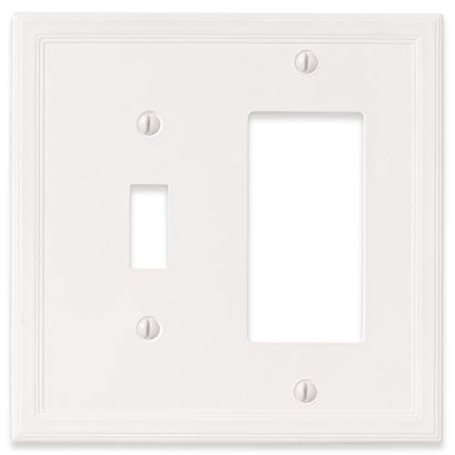 1 Toggle 1 Rocker Combination - White Light Switch Cover Decorative Outlet Cover Wall Plate