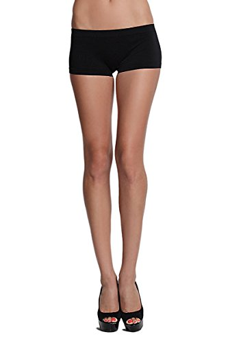 TheMogan Women's Basic SOLID Stretch MINI SHORT LEGGINGS-Black-ONE SIZE Low Rise Stretch Leggings