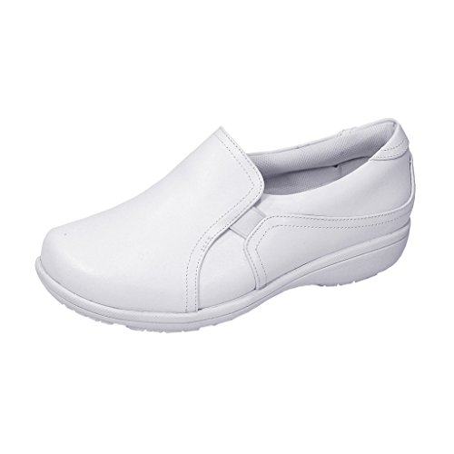 24 Hour Comfort  Kerry (1066) Women Extra Wide Width Leather Slip On Shoes White 6.5 by 24 Hour Comfort