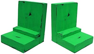 2 Piece Wood/Wooden Bookends - Lime Green - Decorative Distressed Vintage Wooden Book Display