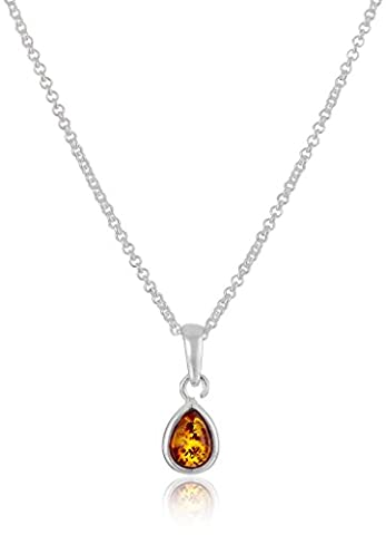 Amber Sterling Silver Drop Pendant Necklace, 18