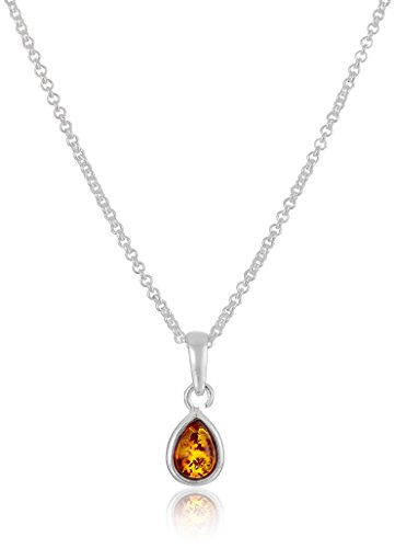 Amber Sterling Silver Drop Pendant Necklace, (Amber Sterling Silver Pendant)