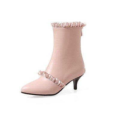 Heart&M Mujer Zapatos PU Otoño Invierno Confort Botas Tacón Stiletto Dedo Puntiagudo Cremallera Para Blanco Negro Rosa white