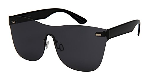 Edge I-Wear Rimless One piece Style Sunglasses with Flat Color Mirrored Lens ()