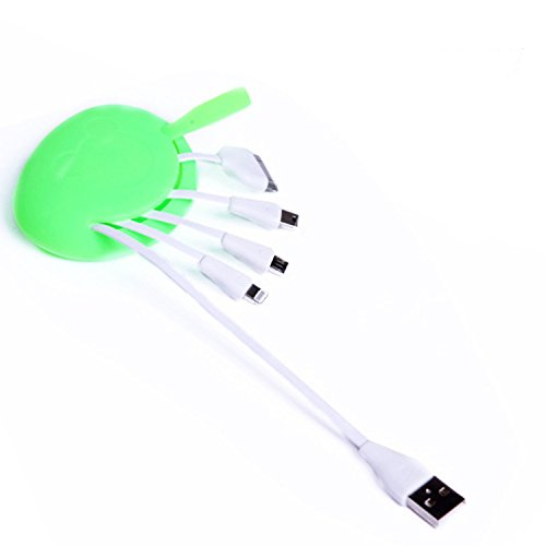 076 Adapter Cable (Ela 4 in 1 USB Cute Charging Data Cable 8 Pin +30 Pins Micro-Green)