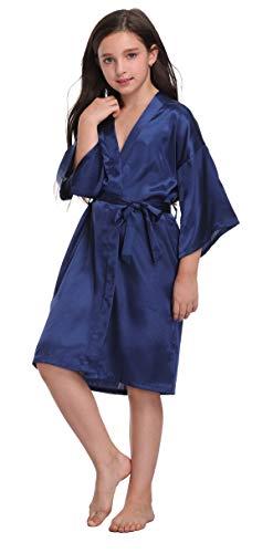 Flower Girl Satin Kimono Robes Basic Style Bathrobes for Wedding Spa Birthday ()