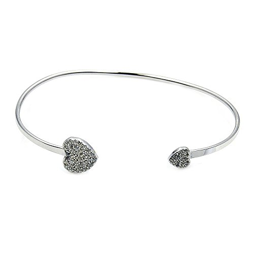 ♥ 'Soulmates' Sterling Silver & Cubic Zirconia Hearts Cuff Stacking Bracelet