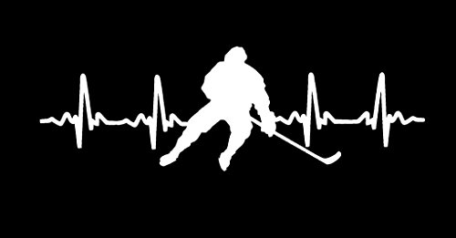 CCI Hockey Heartbeat Decal Vinyl Sticker|Cars Trucks Vans Walls Laptop|White |7.5 x 2.8 in|CCI1760 ()