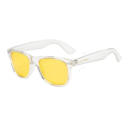 LongKeeper Night Vision Sunglasses Classic Transparent Frame Glasses for Men Women (Transparent Yellow)