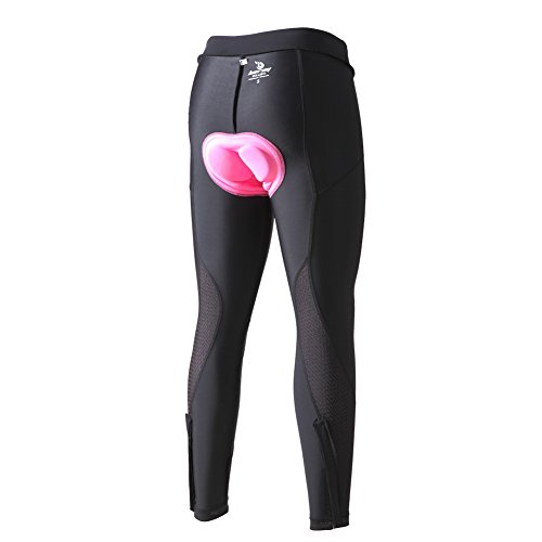 beroy Women 3D Padded Cycling Pants with Adjust Drawstring,Ladies Compression Tights Bike Pants(XS Black) by beroy (Image #4)