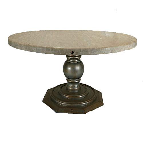 - Rustic Elegant Dining Table Made of a Hand-Painted Wooden Base and a Round Travertine Top