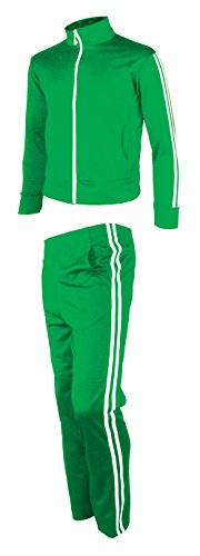 myglory77mall Men's Running Jogging Track Suit Jacket and pants Warm Up Pants Gym Training Wear XL US(3XL Asian Tag) Green (Green Tracksuit)