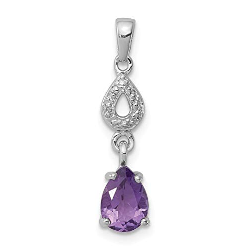 Diamond Purple Amethyst Dangle Pendant Charm Necklace Gemstone Fine Jewelry Gifts For Women For Her ()