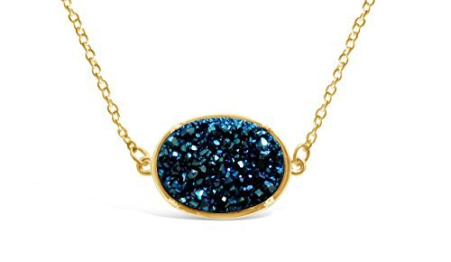 Ellena Rose Druzy Necklace Pendant, 14k Gold Plated Oval Druzy Necklace For Women, 100% Natural Drusy Statement Necklace, Choice of Colors, 18