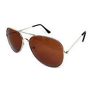 My Shades - Aviator Sunglasses Silver Mirror Classic Metal Teardrop or Color Mirror Assorted…… (Silver Frame, Brown)