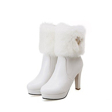 Winter EU35 Women'S Dress Black Leatherette Blushing CN34 Ankle Casual Boots Toe For Heel Shoes Fashion US5 UK3 Booties Round Chunky RTRY Boots Boots White Pink qFBptt