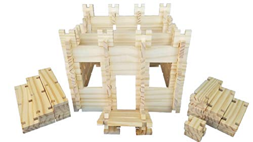 Freedom Logs Wood Toy Building Blocks Set - Best Educational Wooden Construction Play Kit for Boys, Girls, and Kids Age 3+ Includes 75 Block Pieces That Link Learning and Creativity (Best Wood For Kids Toys)