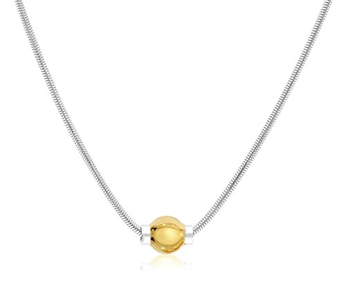 Solid 925 Sterling Silver And 14K Gold Ball CAPE COD BEACH Designer Real Snake Chain Necklace. Dome Sterling Silver Necklace